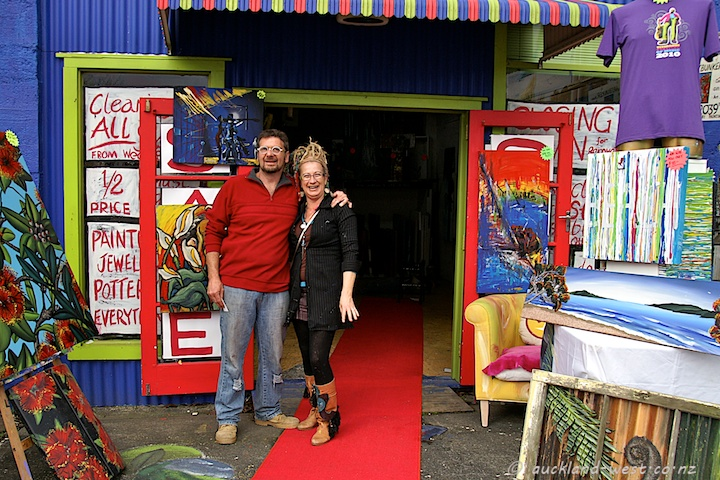 Byron Delves and Heathermeg in Front of the Art Bunker