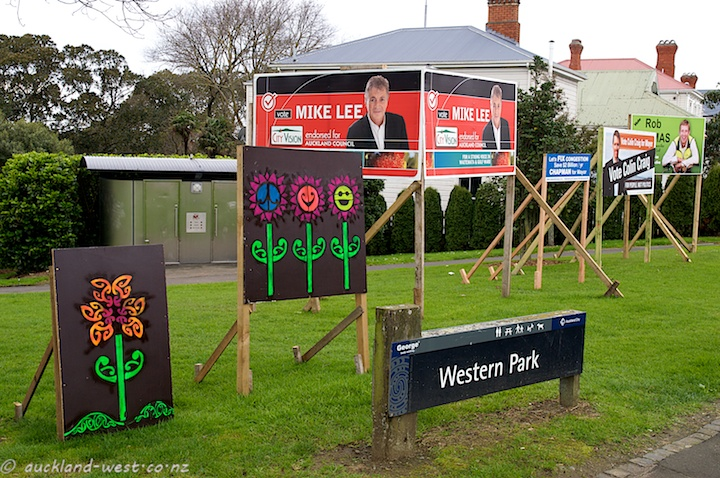 Hoardings at Western Park, Ponsonby