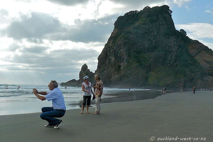 jb, Mrs H, Mrs jb and Lion Rock, Piha
