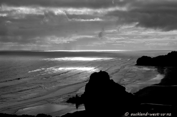 Looking down to Piha Beach