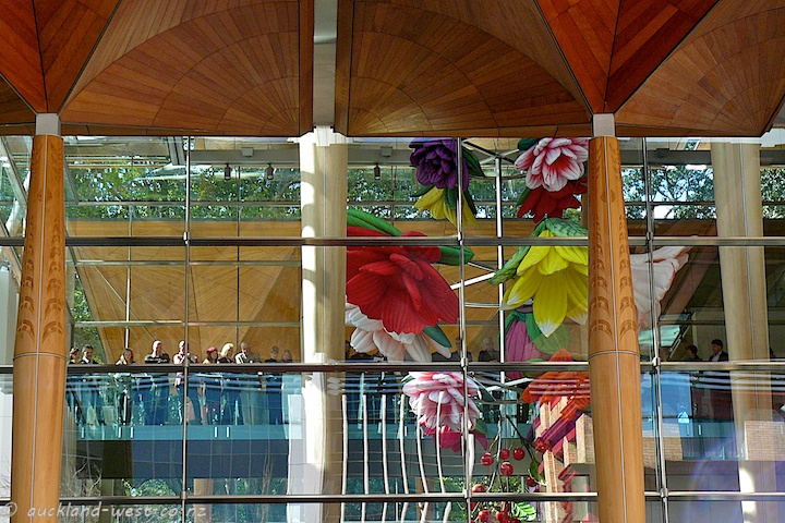 Looking up into the Kauri Panelled Canopy above the Atrium (Flowers by Choi Jeong Hwa)