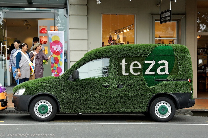 Teza's Green Car outside Essenze, Parnell