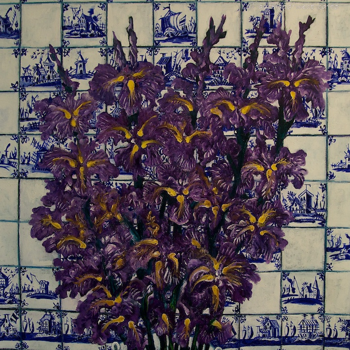 Irises with Delft Tiles (Dean Buchanan), Detail