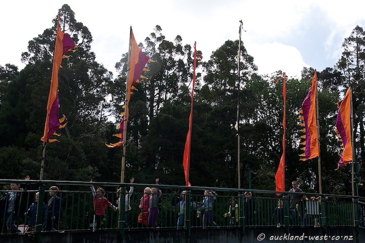 Festival flags and school children